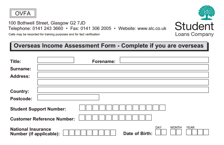Paying Student Loans Abroad  Income Assessment Form