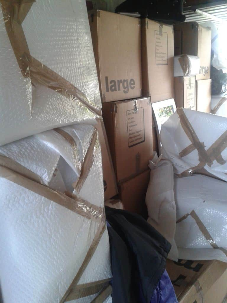 Our shipment arrived safely at the other end with only two broken lamps and a poorly packaged picture frame!