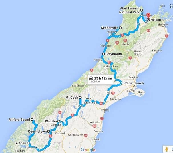 South Island NZ Road Trip Route