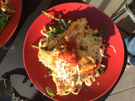 Fish with fresh tagliatelle, outdoor dining at its best.